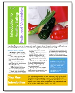 The nutrition lessons that Christine created and taught at P.S./I.S. 187 Hudson Cliffs School